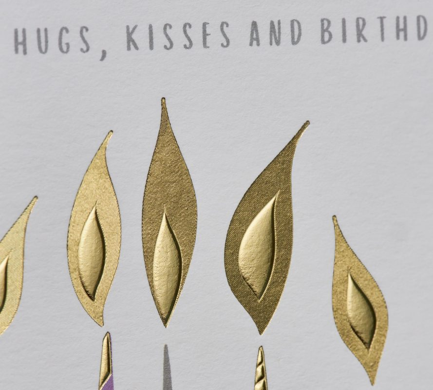 Fluted and textured foil greeting card