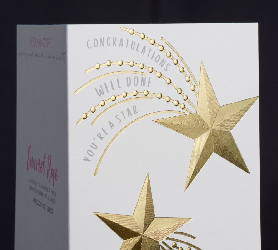 Flat, fluted faceted and textured foil greeting card
