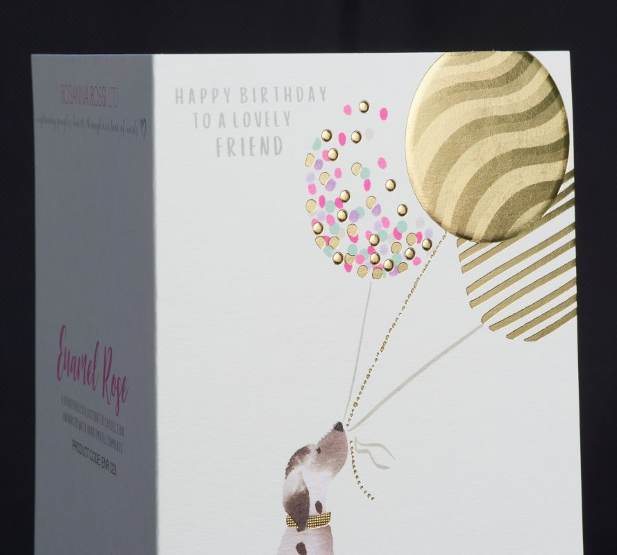 Flat, fluted and textured foil greeting card