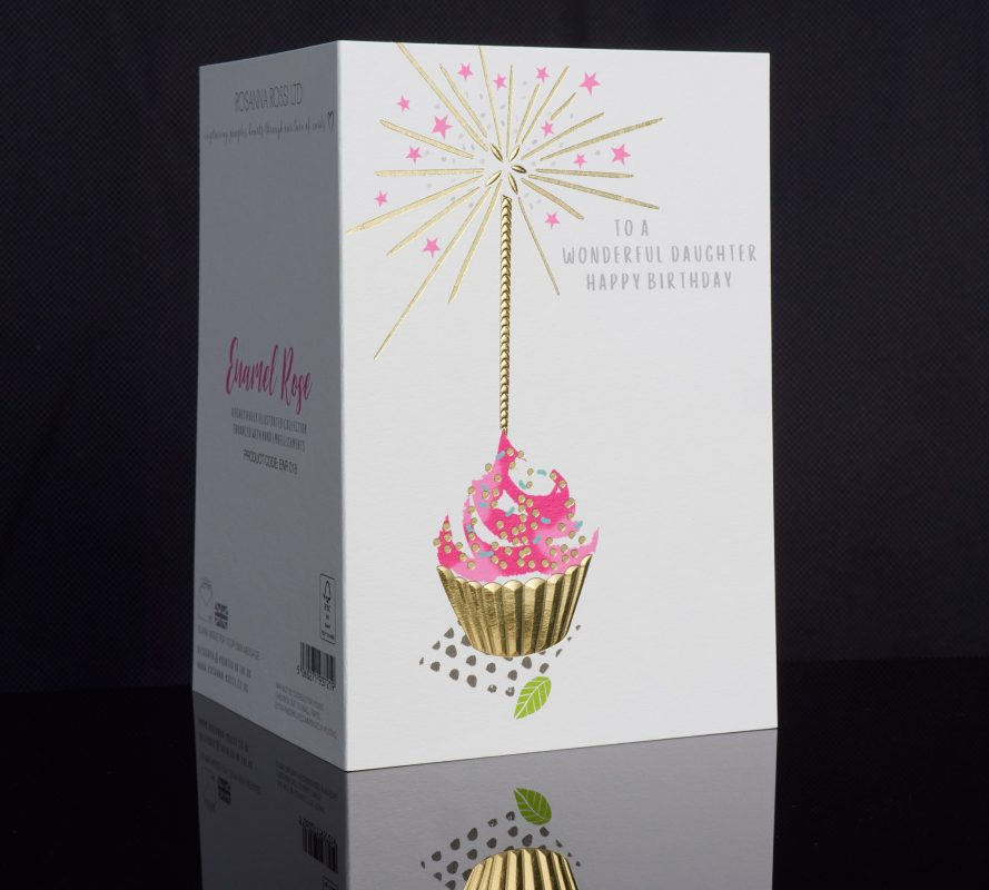 Flat, fluted and faceted foil greeting card