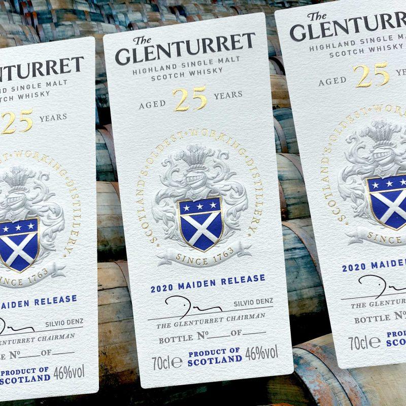 Glenturret 25 year old Whisky labels