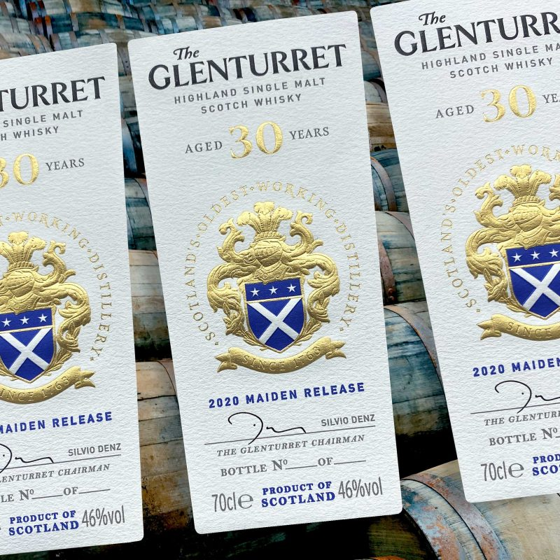 Glenturret 30 year old Whisky labels